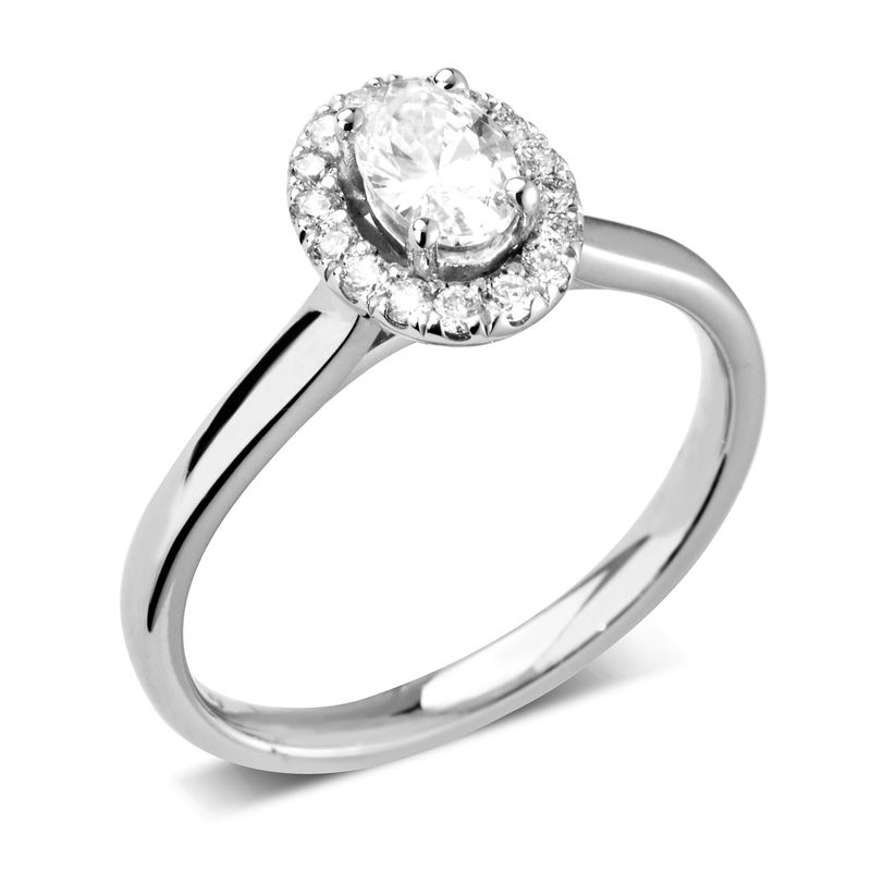 Oval Halo Diamond Engagement Rings Uk White Gold / Platinum