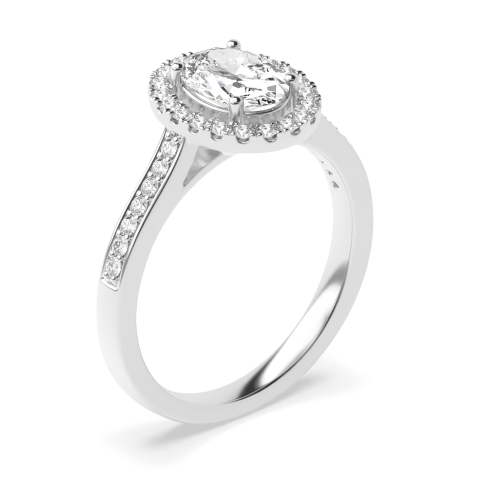 Prong Setting Oval Diamond Halo Engagement Ring