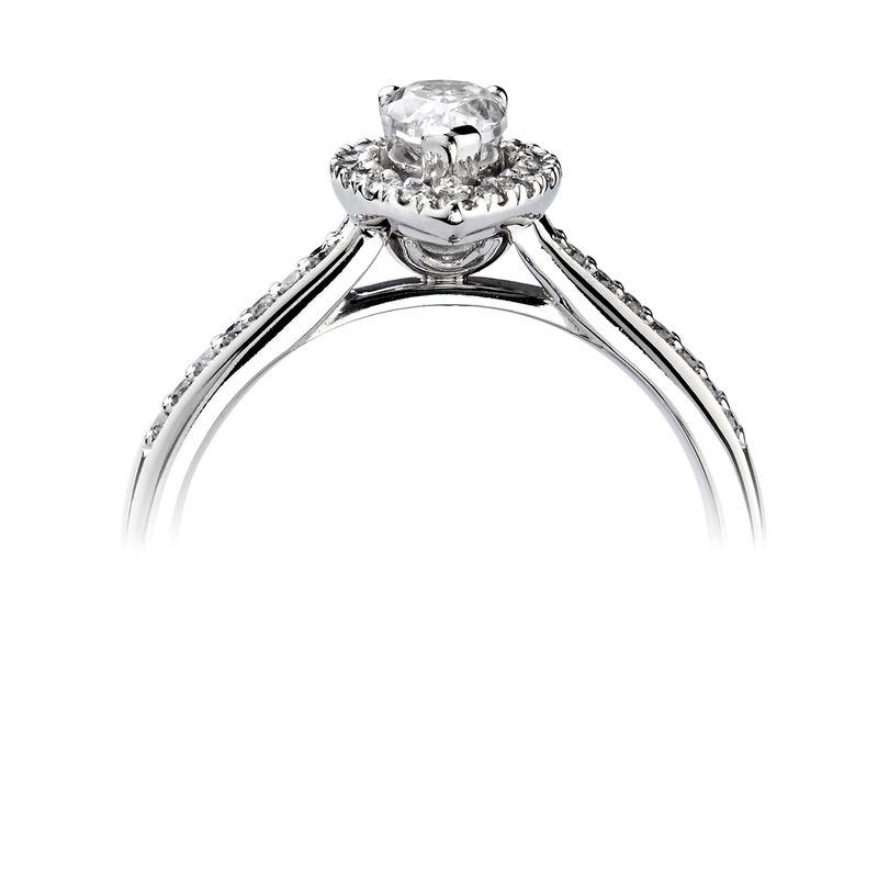 Pear Halo Diamond Engagement Ring In Platinum / White Gold