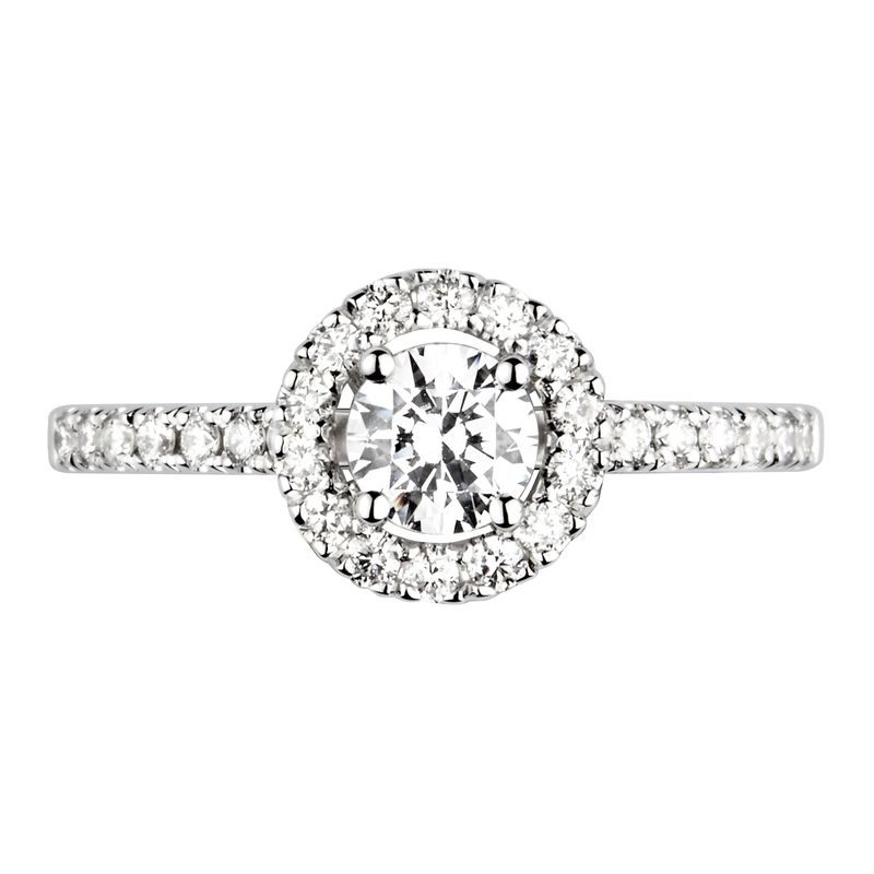4 Prong Set Round Diamond Halo Engagement Ring With Side Stones