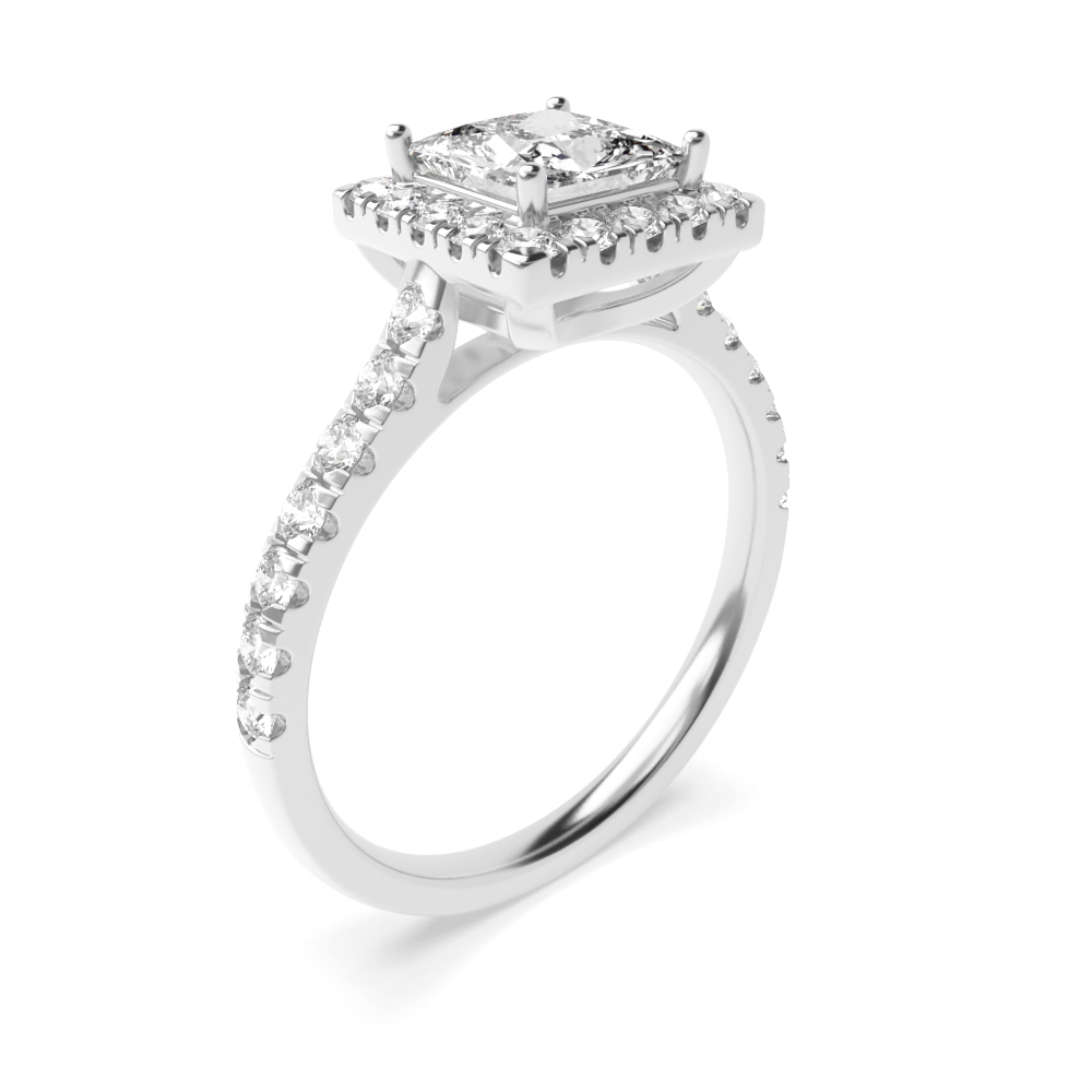 Prong Setting Side Stone Princess Diamond Halo Engagement Ring