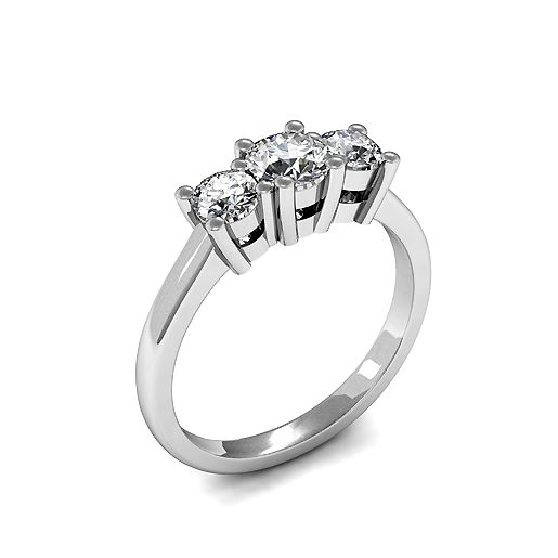 4 Prong Set Round Trilogy Diamond Ring in Platinum