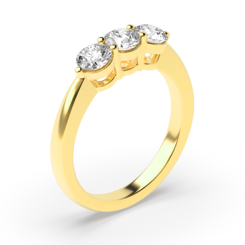 Round Trilogy Diamond Rings Prong Setting in Yellow Gold