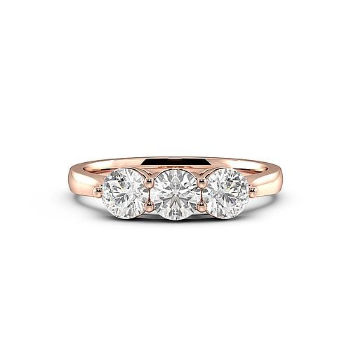 Rose Gold Trilogy Round Diamond Ring 4 Prong Set