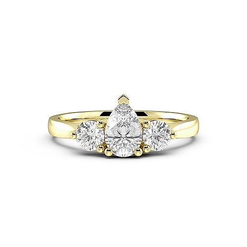 3 Prong Setting Pear Trilogy Diamond Ring in Platinum