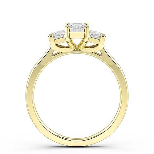 4 Prong Set Emerald Trilogy Diamond Rings in Platinum