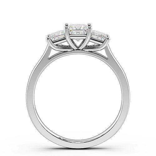 4 Prong Setting Princess Trilogy Diamond Rings in Rose / White Gold