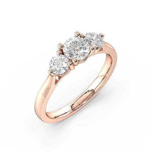 Round Trilogy Diamond Rings 4 Prong Setting in White gold