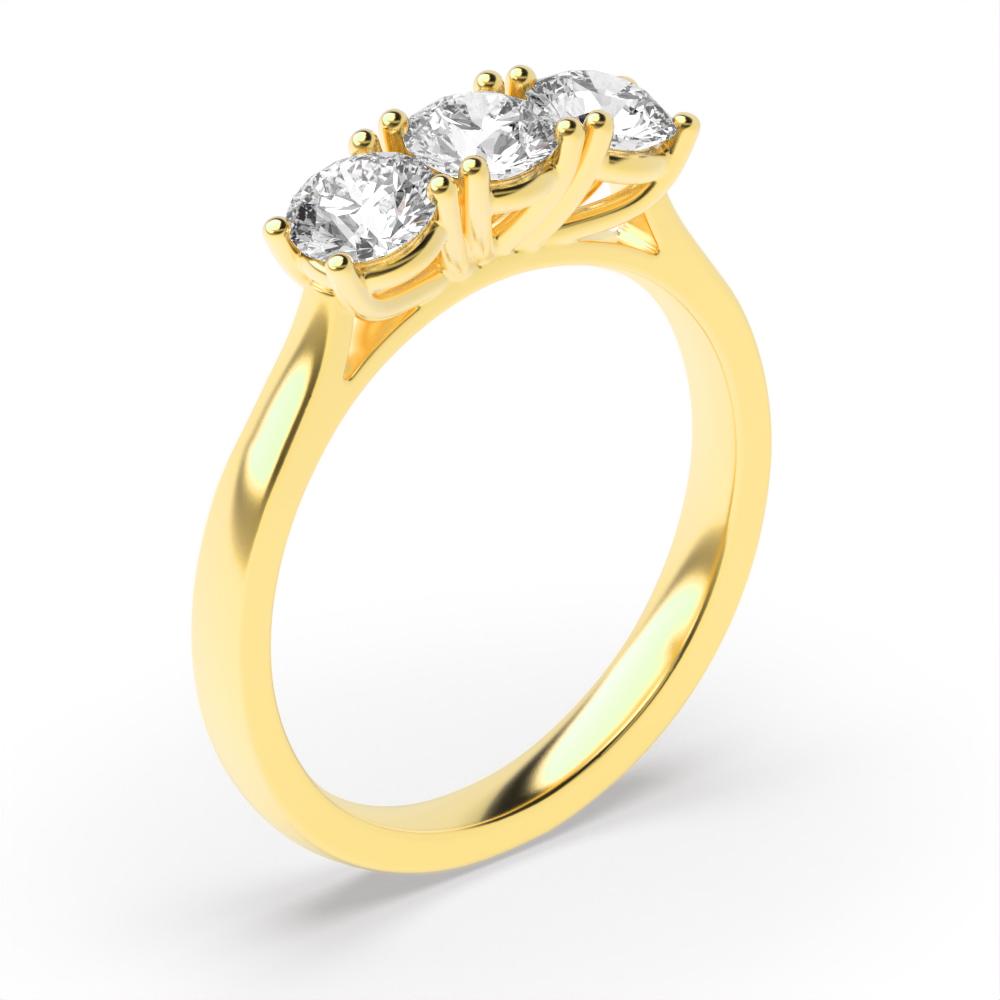 Round Trilogy Diamond Rings 4 Prong Setting Yellow / White Gold