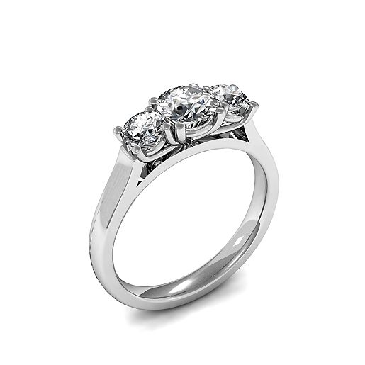 Trilogy Round Diamond Rings 4 Prong Setting in Yellow Gold