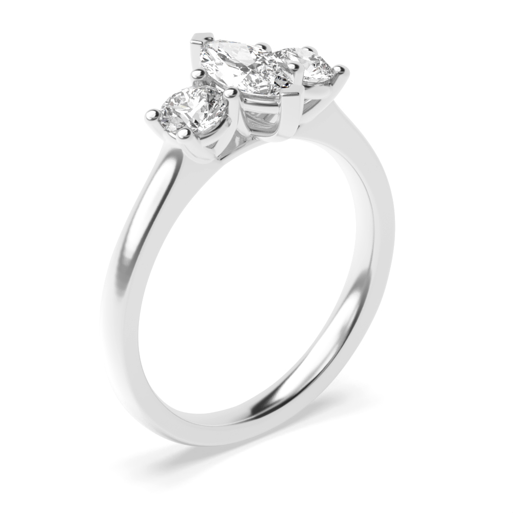 2 Prong Setting Marquise Trilogy Diamond Ring in Yellow Gold