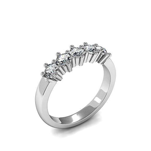 6 Prong Set Five Stone Diamond Ring In White Gold / Platinum