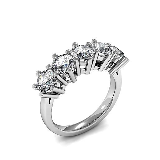 6 Prong Setting Five Stone Diamond Ring UK In Platinum