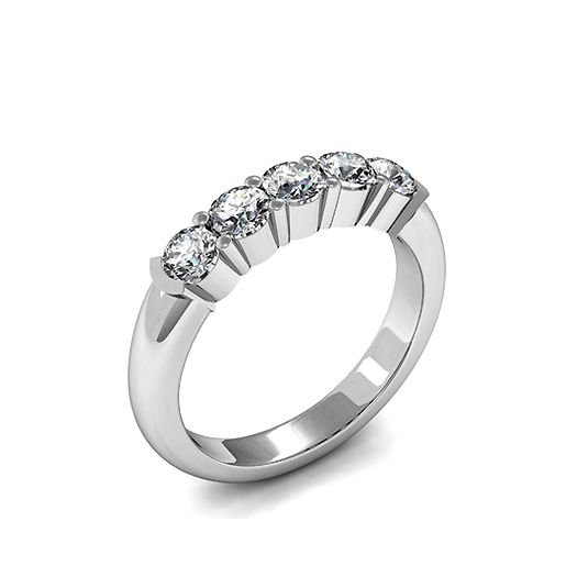 Semi Bezel & 4 Prong Setting Five Stone Diamond Ring