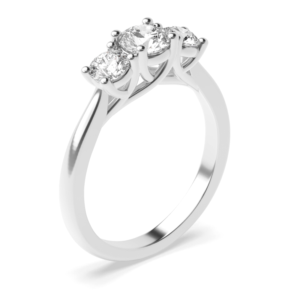 Prong Setting Round Trilogy Diamond Engagement Ring