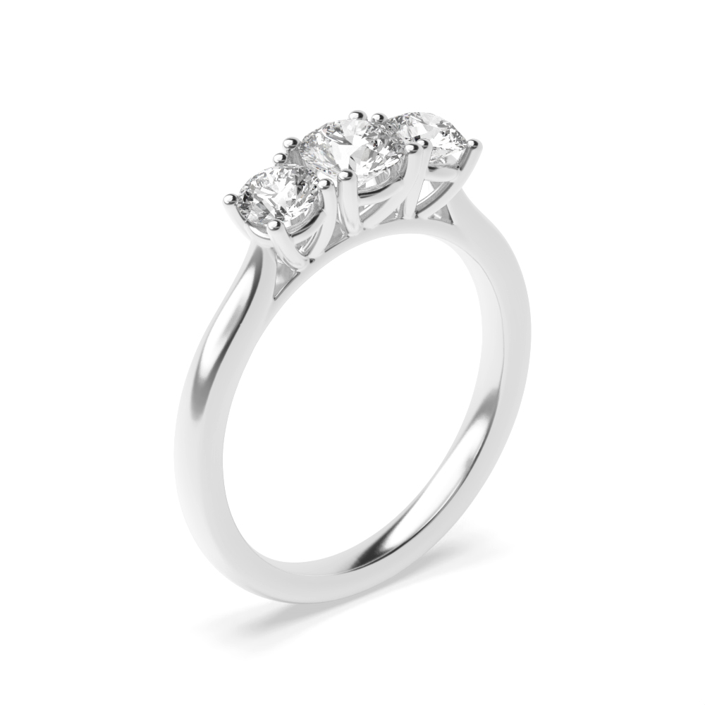 951da6b9352b6 Prong Setting Round Trilogy Diamond Engagement Ring White gold - Abelini UK