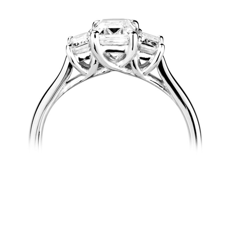 Prong Setting Emerald Trilogy Diamond Engagement Ring in Rose gold