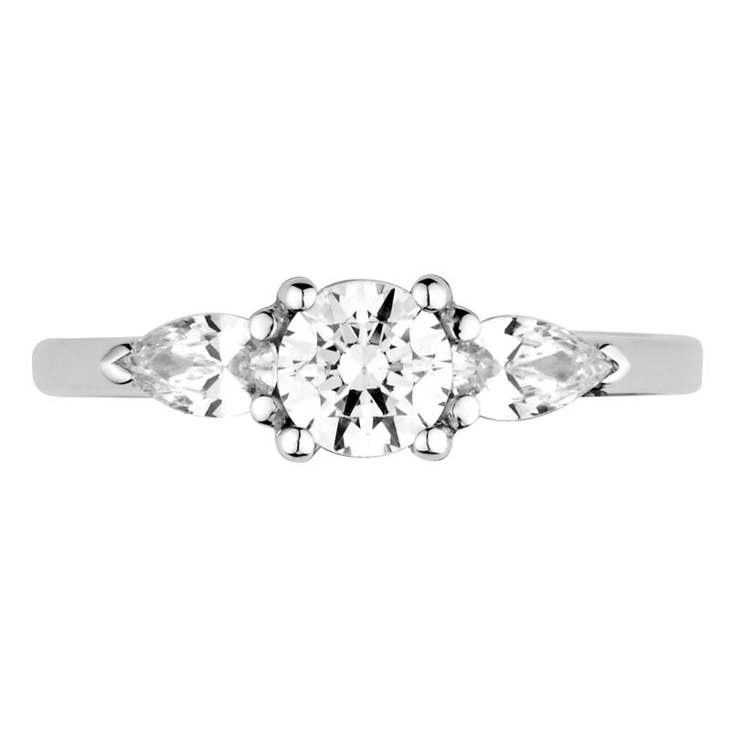 Prong Setting Round & Pear Trilogy Diamond Engagement Ring