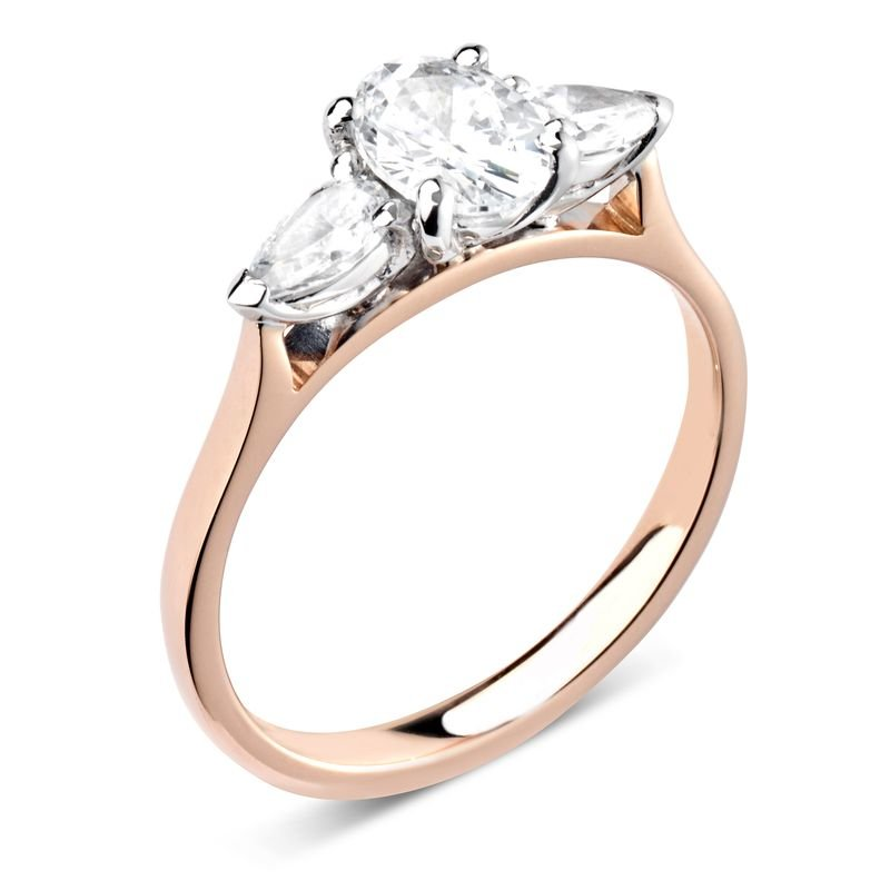 Prong Setting Oval & Pear Trilogy Diamond Engagement Ring in White gold