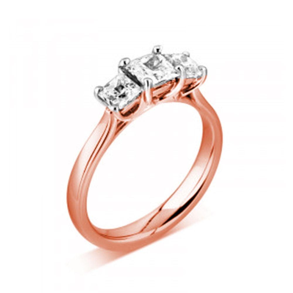 Prong Setting Princess Trilogy Diamond Engagement Ring in Platinum