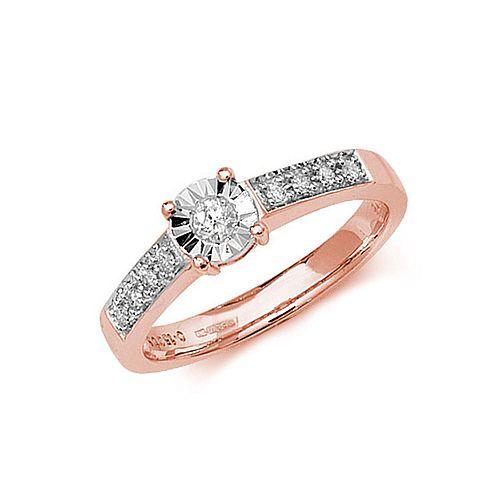 Illusion Set Shoulder Set Diamond Engagement Rings (5.0mm)