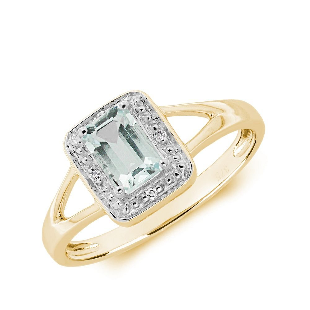 Gemstone Ring With 0.55ct Emerald Shape Aquamarine and Diamonds