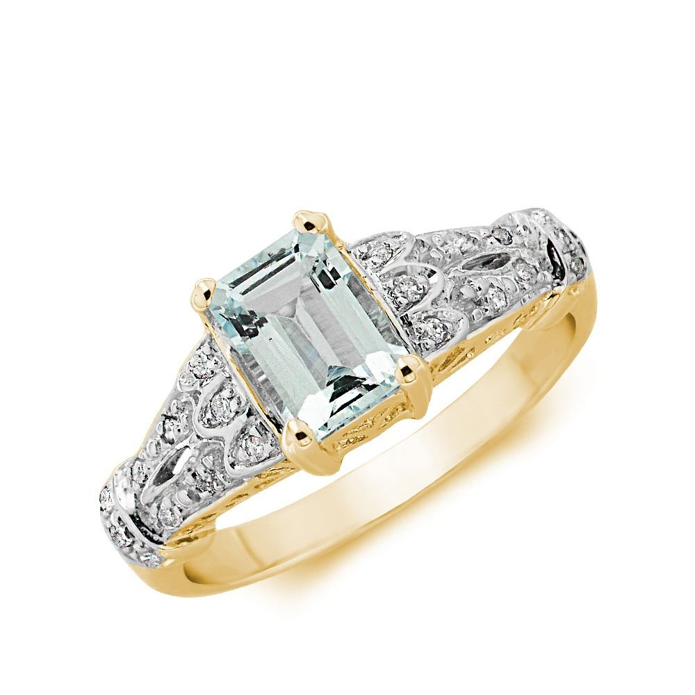 Gemstone Ring With 0.9ct Emerald Shape Aquamarine and Diamonds