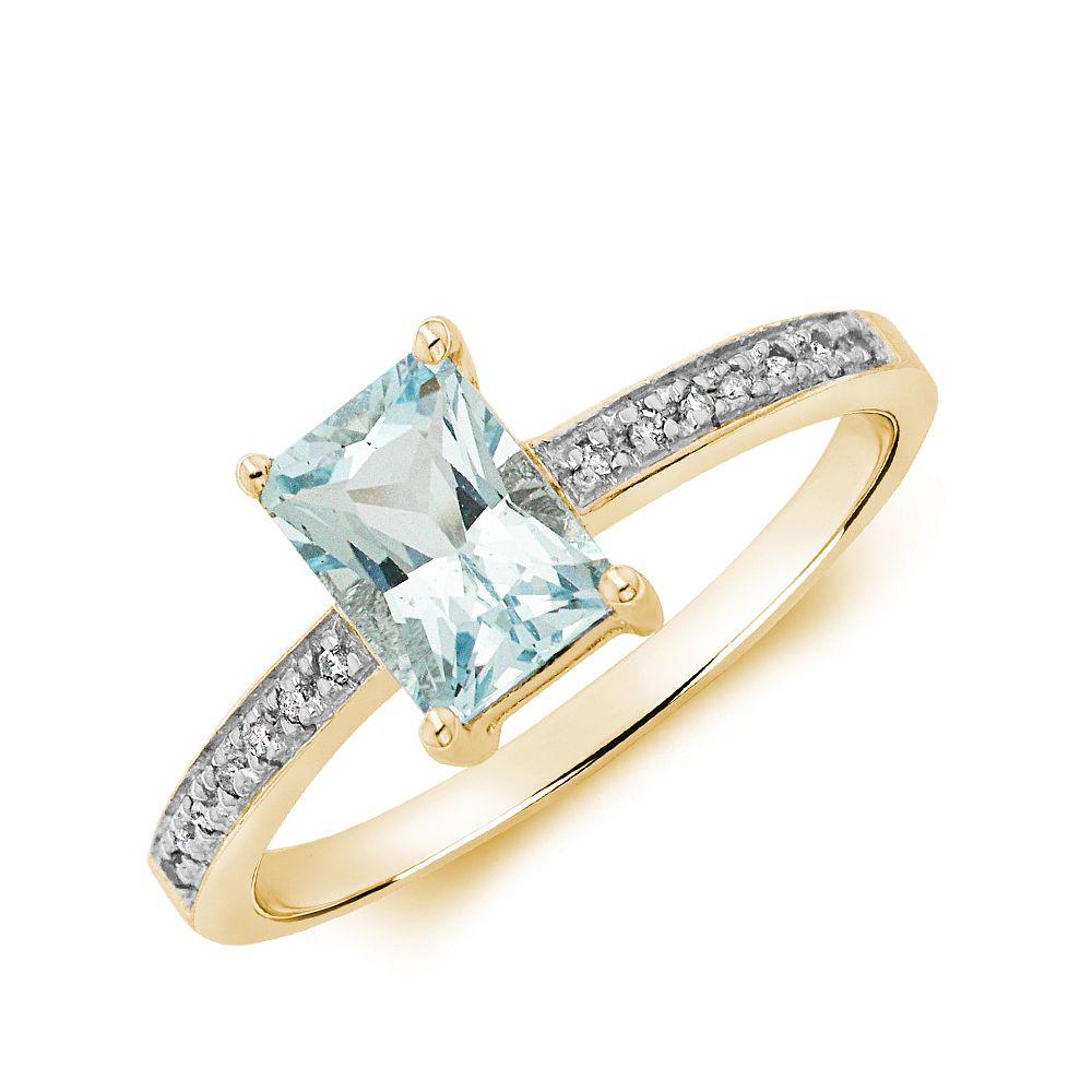Gemstone Ring With 0.85ct Emerald Shape Aquamarine and Diamonds