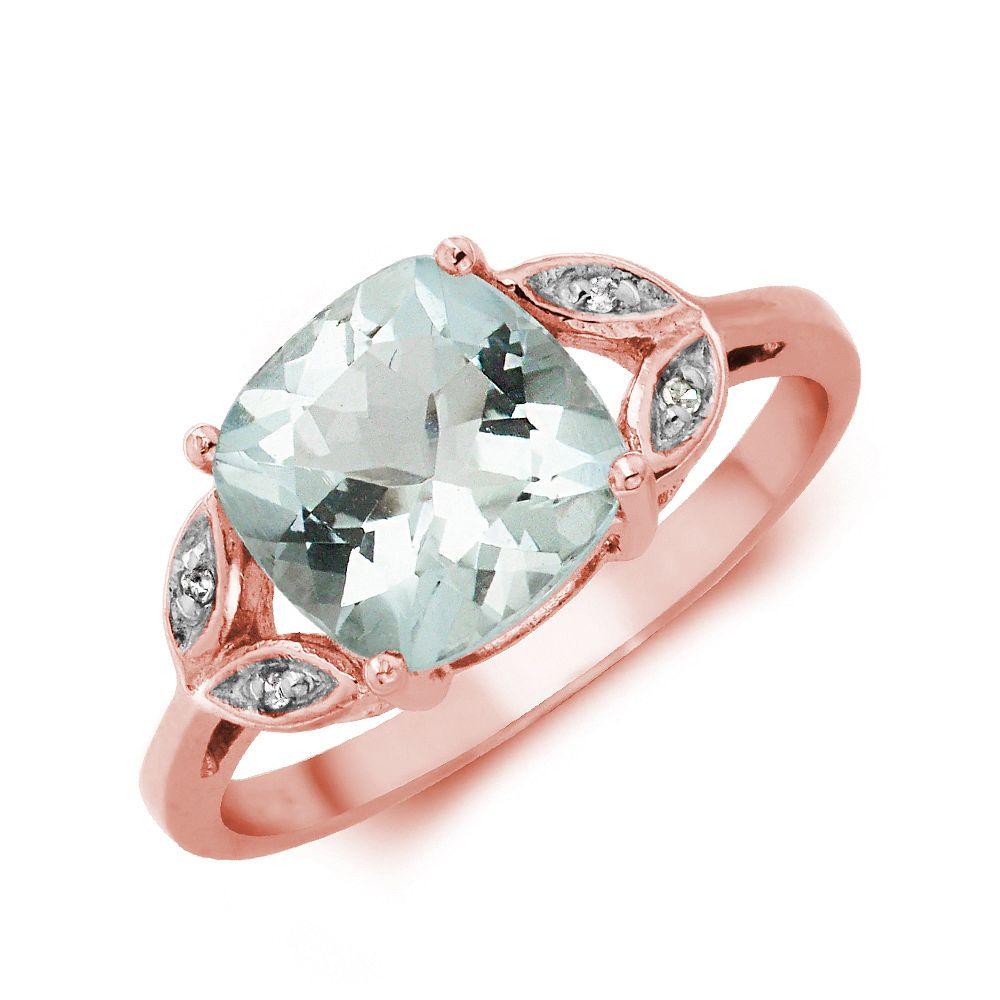 Gemstone Ring With 1.75ct Cushion Shape Aquamarine and Diamonds