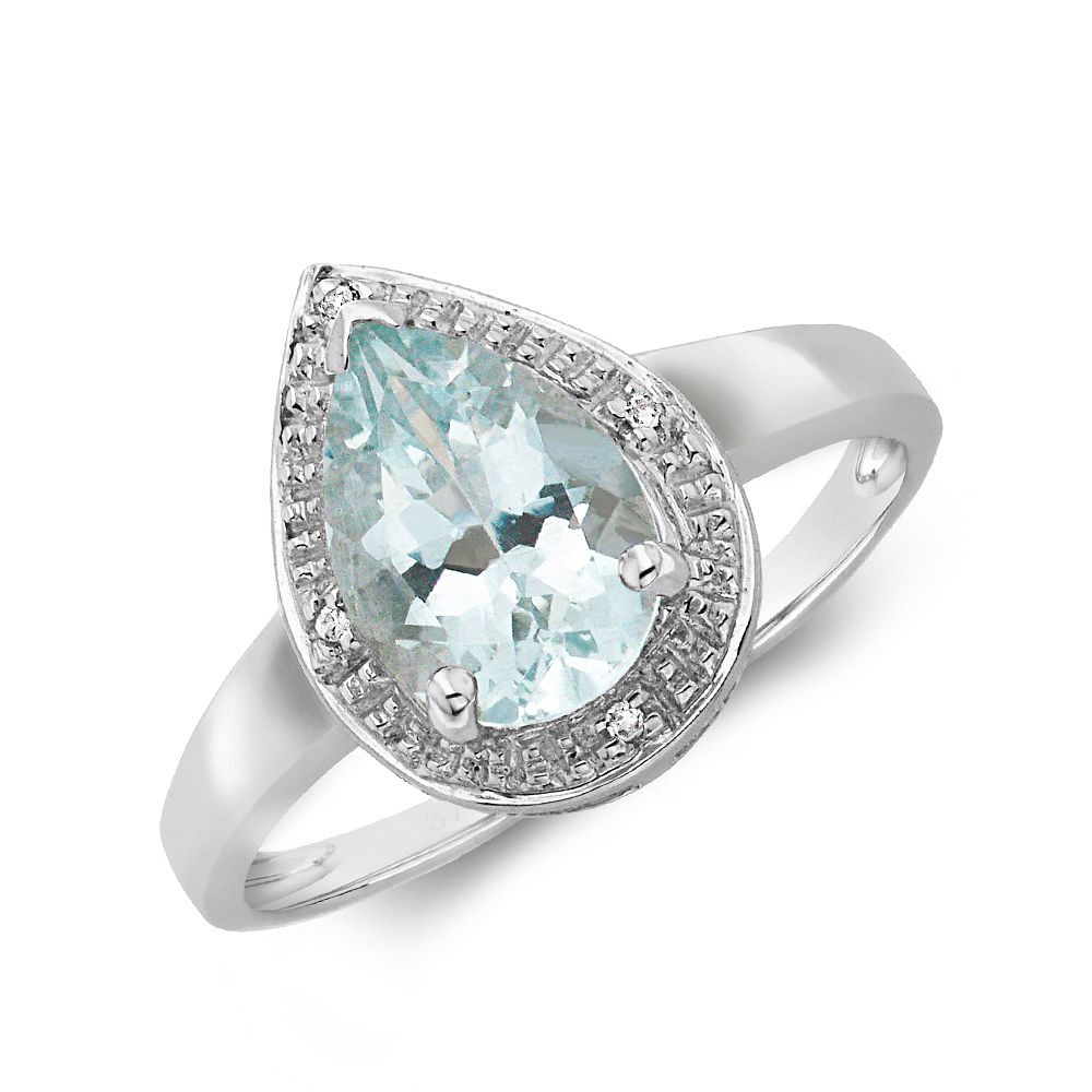 Gemstone Ring With 1.5ct Pear Shape Aquamarine and Diamonds
