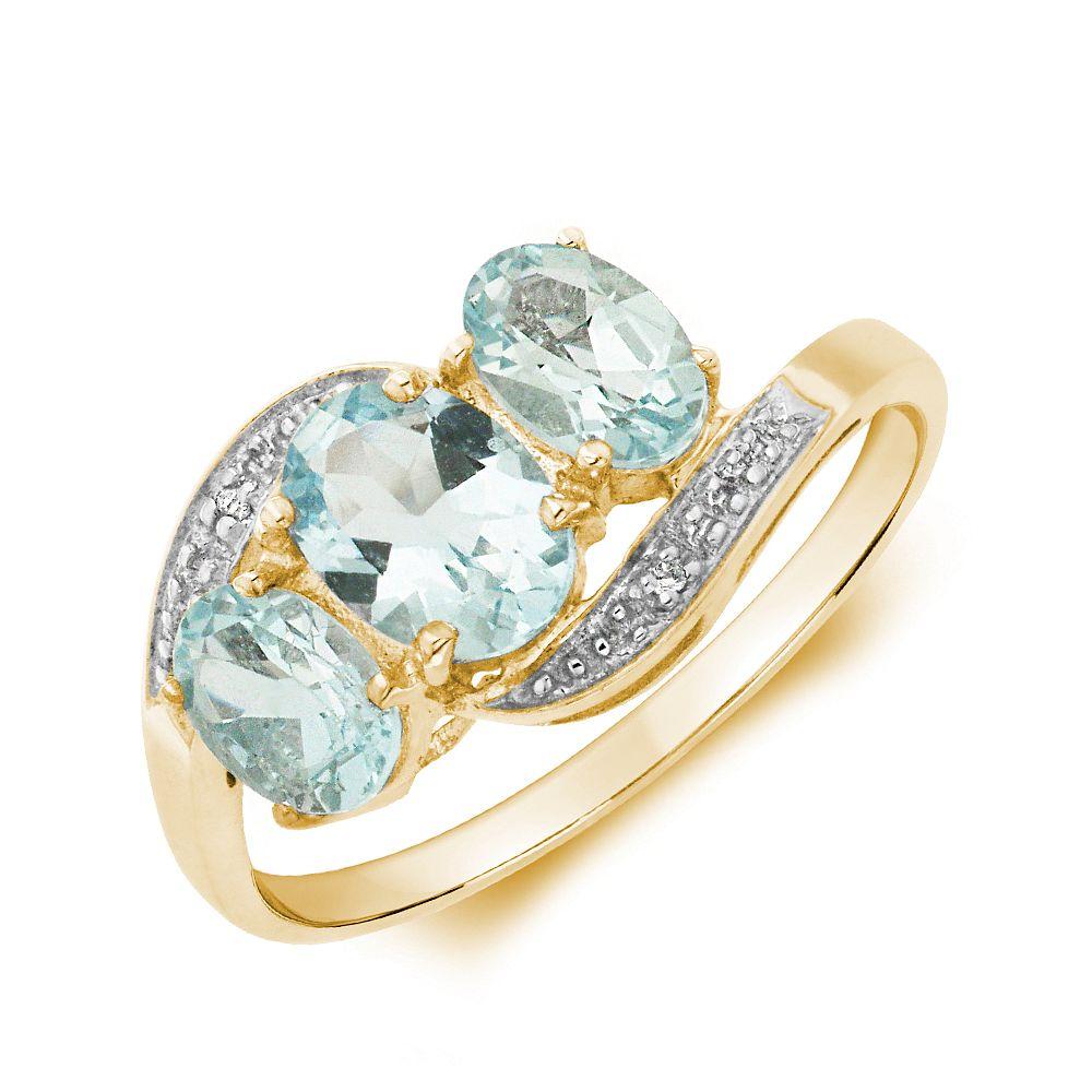 Gemstone Ring With 1.35ct Oval Shape Aquamarine and Diamonds