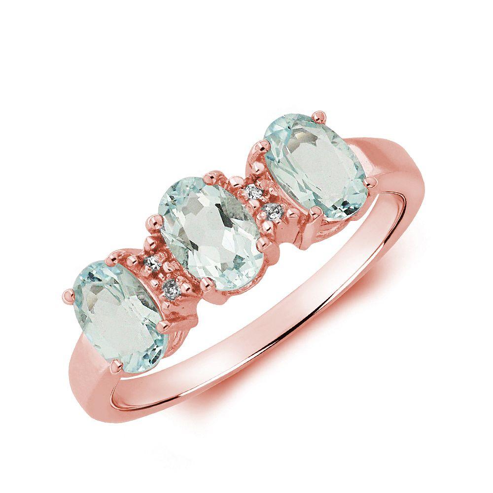 Gemstone Ring With 1.5ct Oval Shape Aquamarine and Diamonds