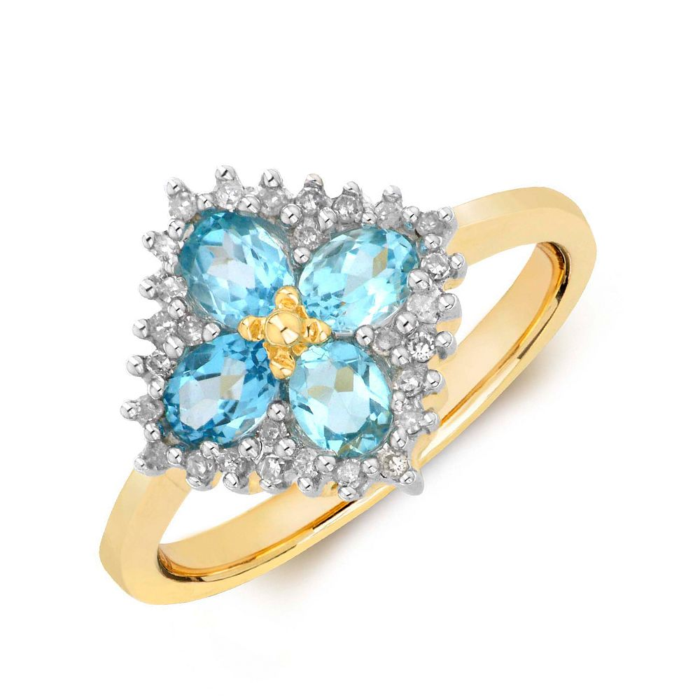Gemstone Ring With 0.85ct Oval Shape Blue Topaz and Diamonds