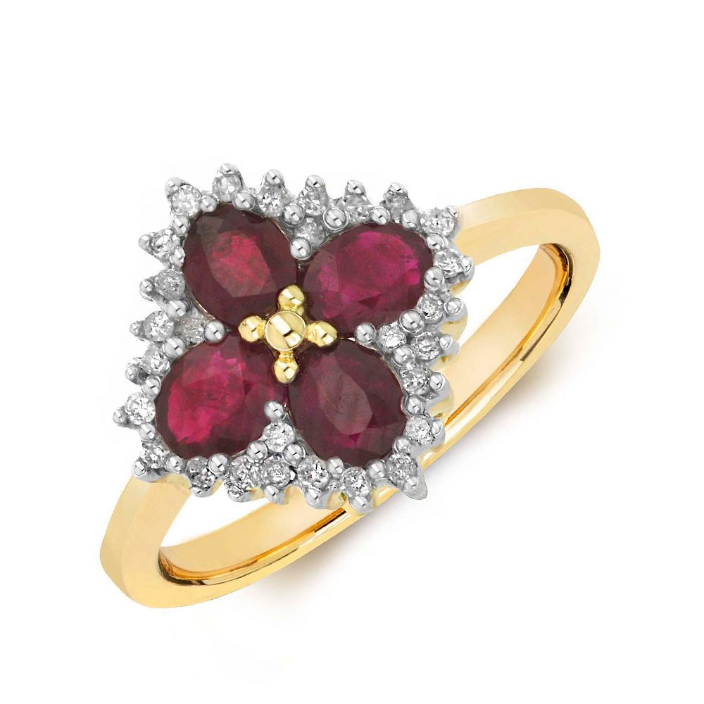 Gemstone Ring With 0.85ct Oval Shape Ruby and Diamonds
