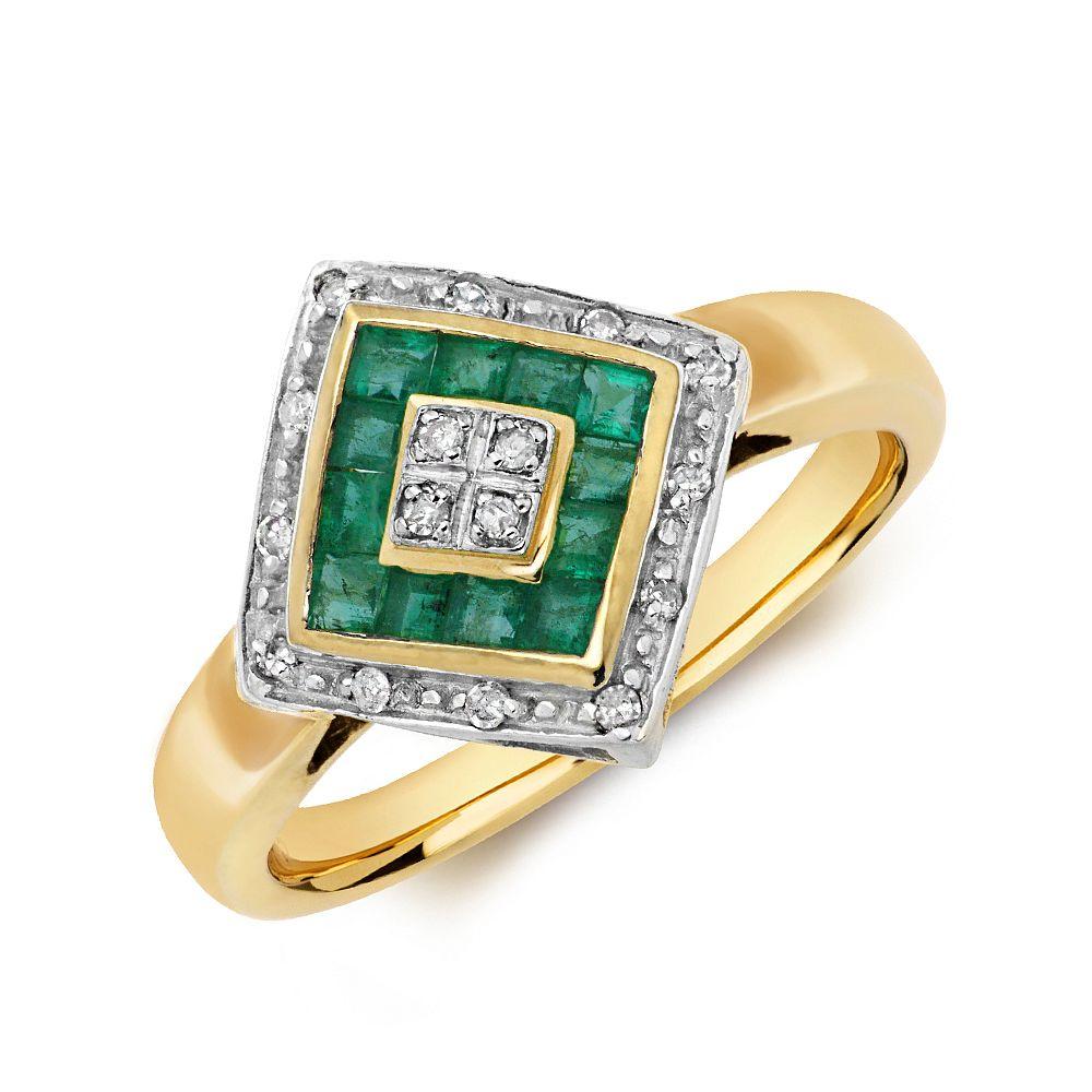 Gemstone Ring With 0.5ct Princess Shape Emerald and Diamonds