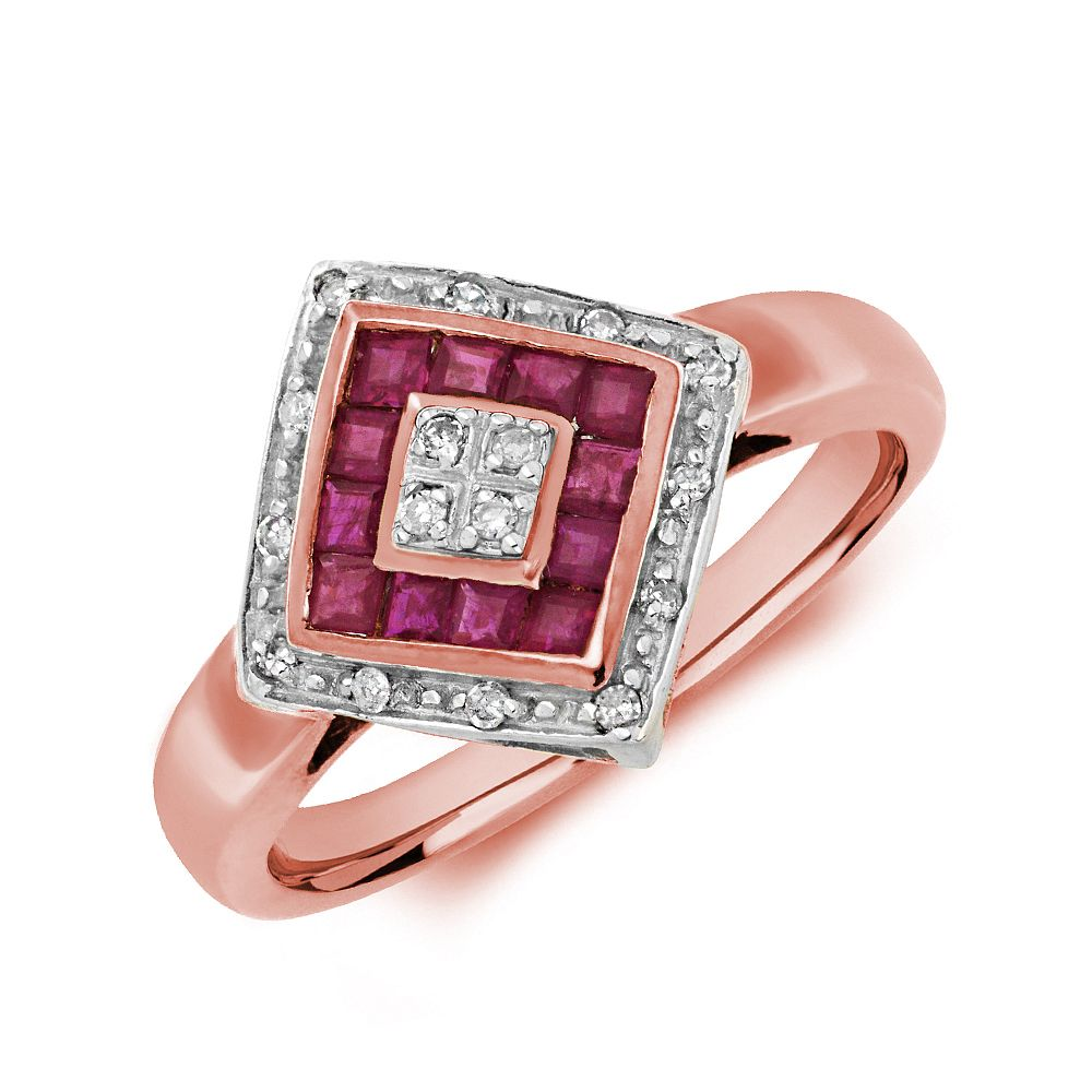 Gemstone Ring With 0.5ct Princess Shape Ruby and Diamonds