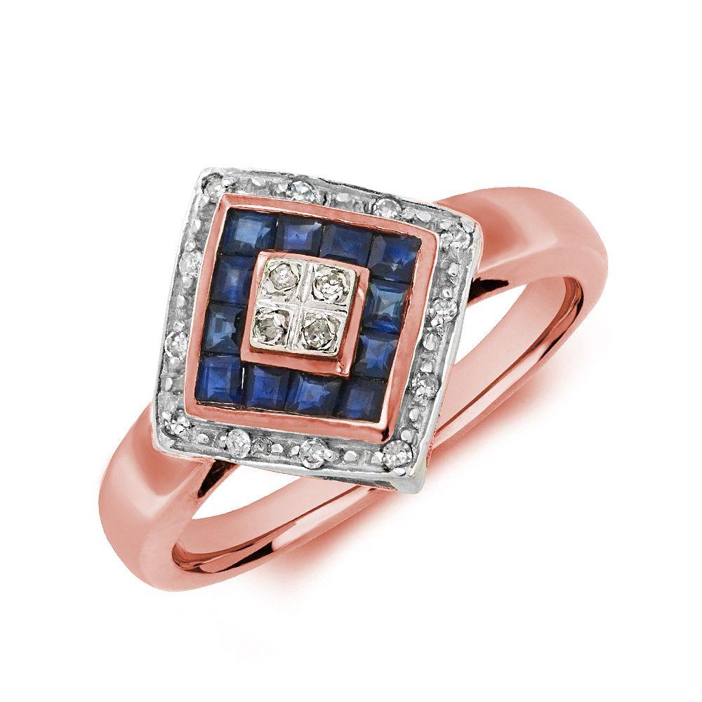 Gemstone Ring With 0.5ct Princess Shape Blue Sapphire and Diamonds