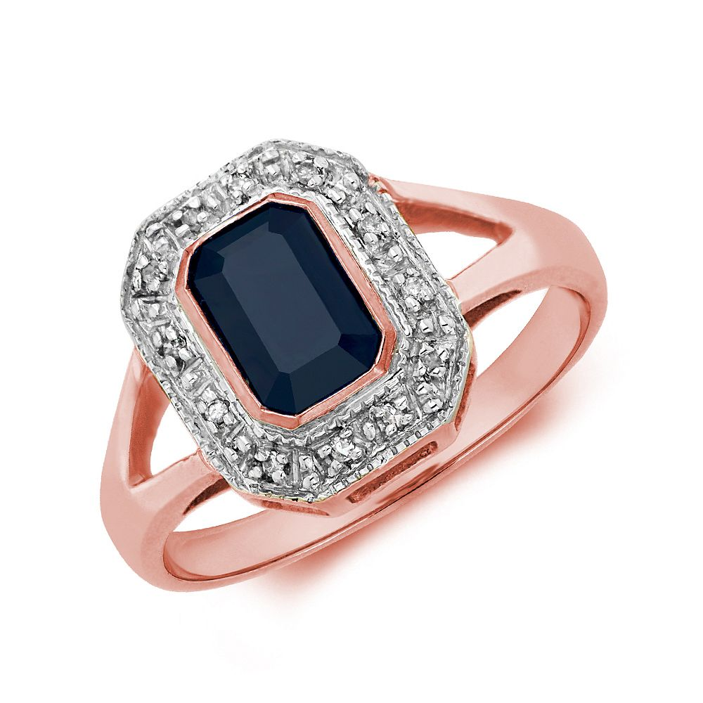 Gemstone Ring With 1ct Emerald Shape Blue Sapphire and Diamonds