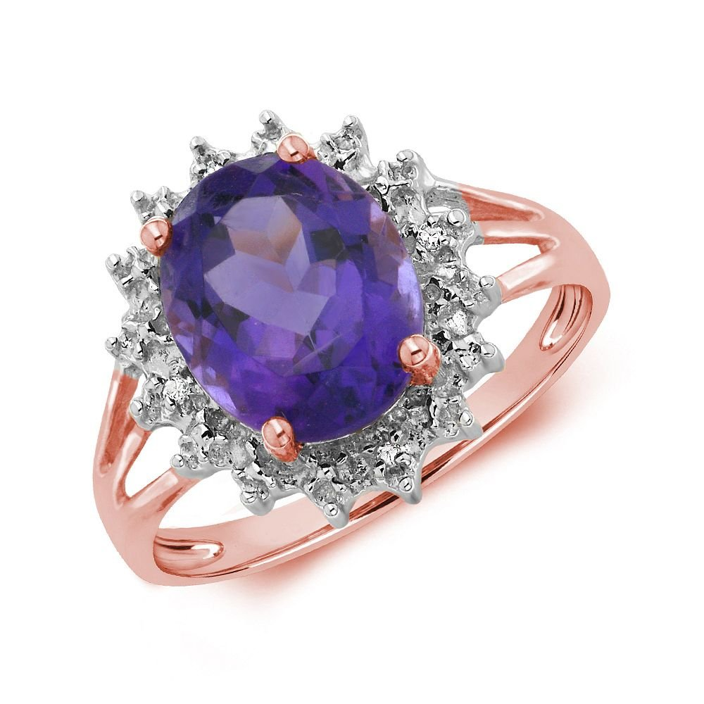 Gemstone Ring With 2.5ct Oval Shape Amethyst and Diamonds