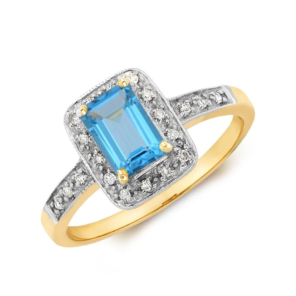 Gemstone Ring With 0.85ct Emerald Shape Blue Topaz and Diamonds