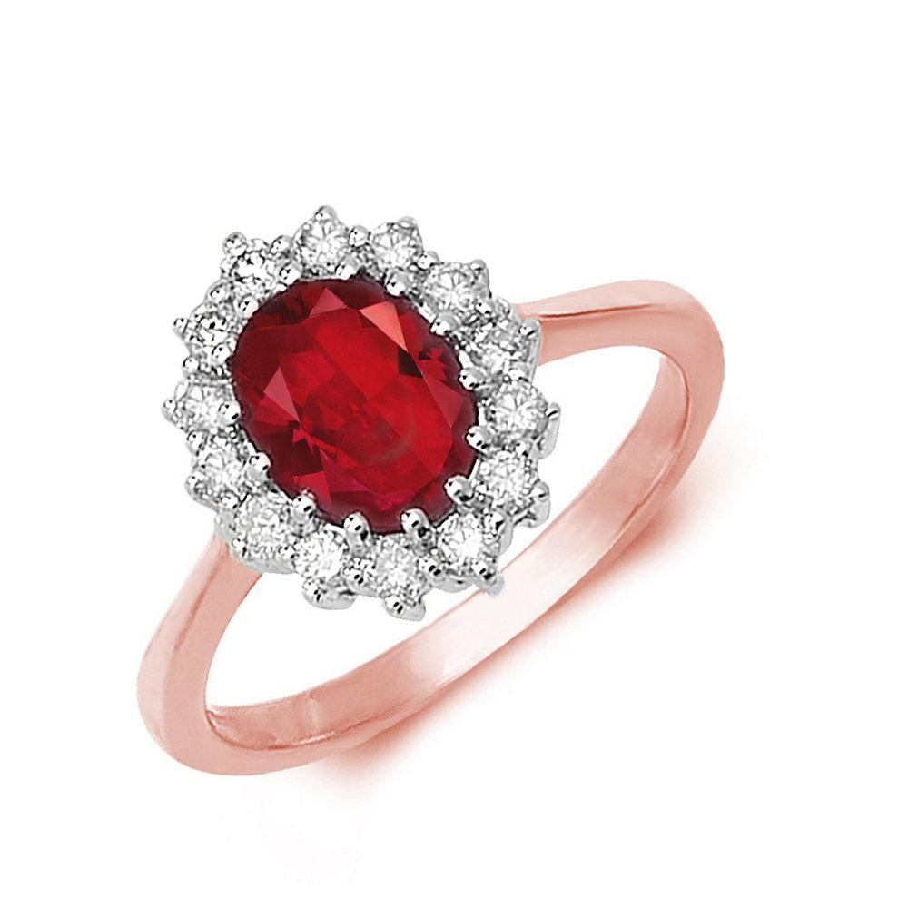 Gemstone Ring With 1.25ct Oval Shape Ruby and Diamonds