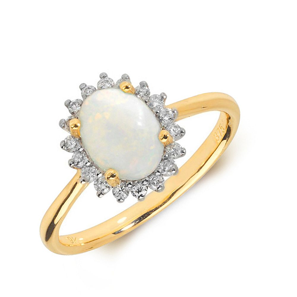 Gemstone Ring With 0.75ct Oval Shape Opal and Diamonds