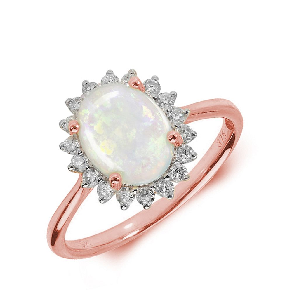 Gemstone Ring With 1ct Oval Shape Opal and Diamonds