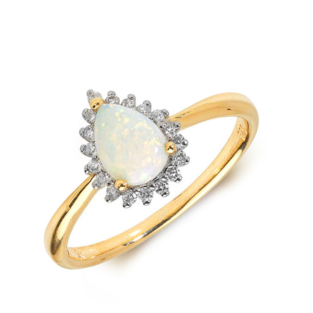 Gemstone Ring With 0.5ct Pear Shape Opal and Diamonds