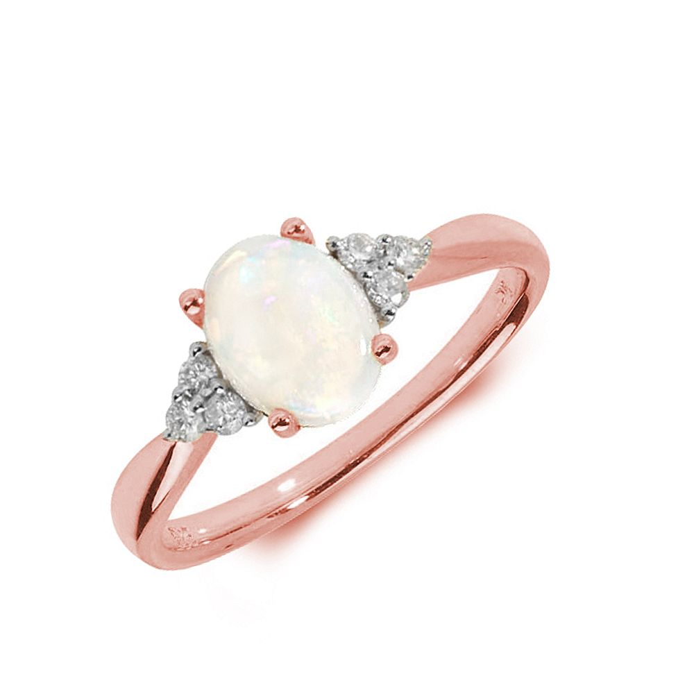 Gemstone Ring With 0.7ct Oval Shape Opal and Diamonds