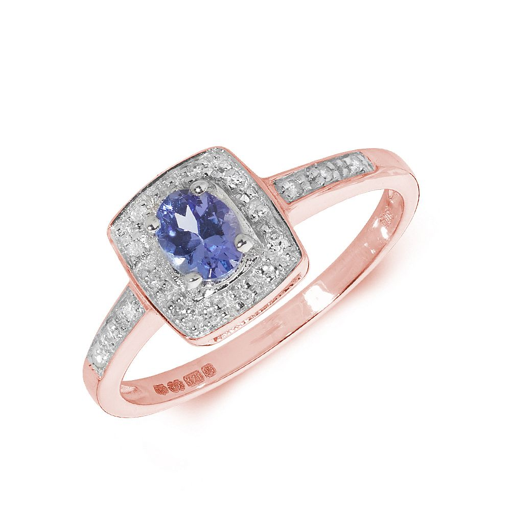 Gemstone Ring With 0.35ct Oval Shape Tanzanite and Diamonds