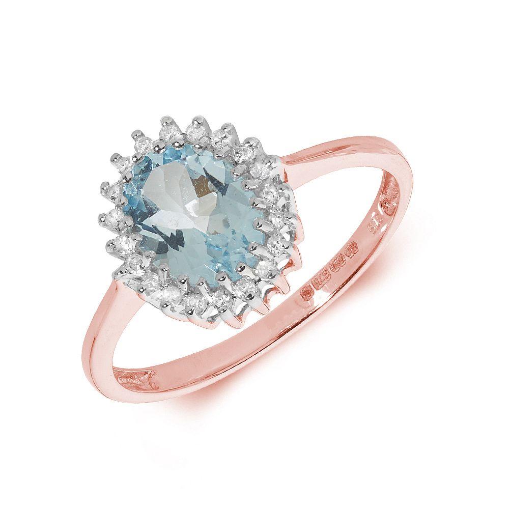 Gemstone Ring With 1ct Oval Shape Aquamarine and Diamonds