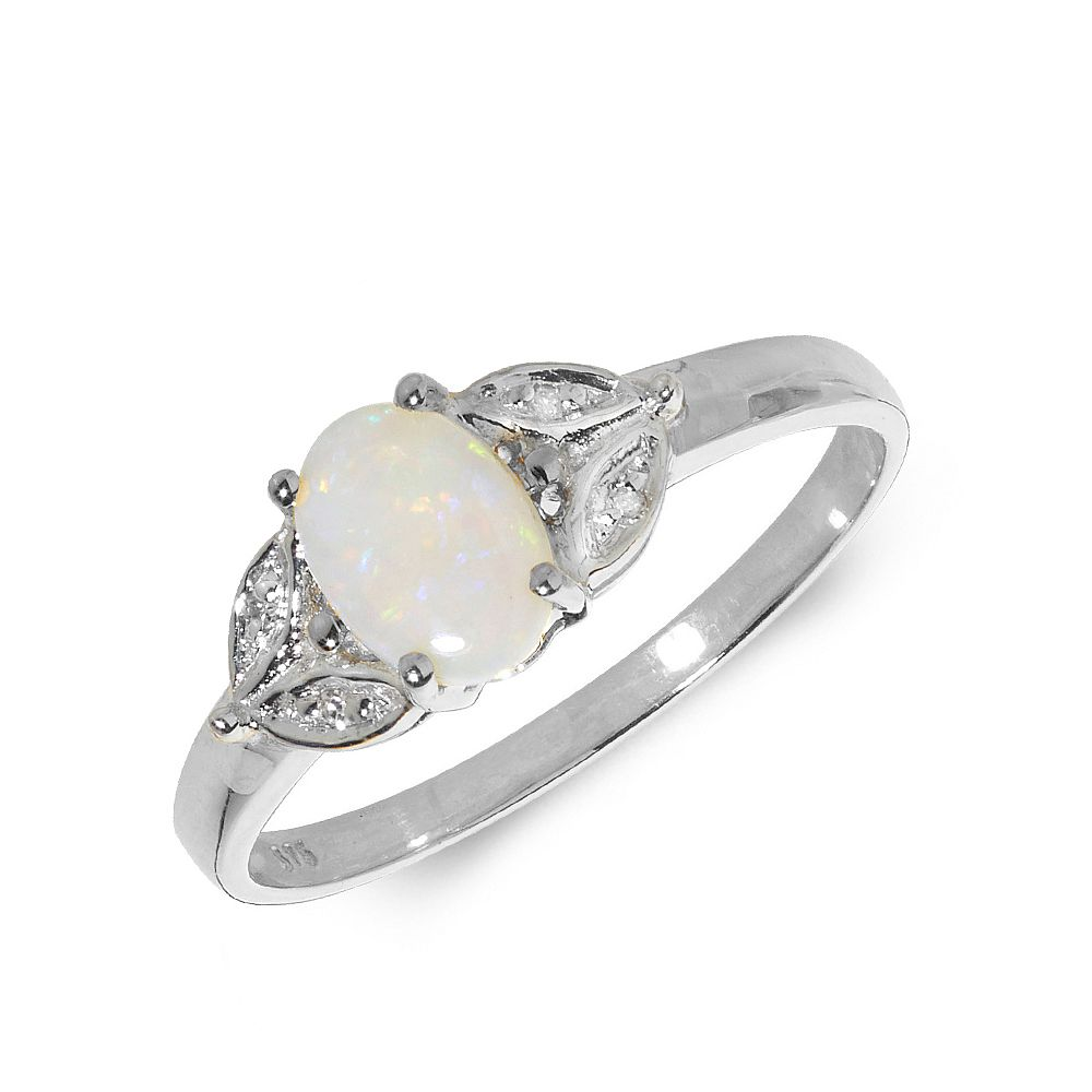 Gemstone Ring With 0.4ct Oval Shape Opal and Diamonds