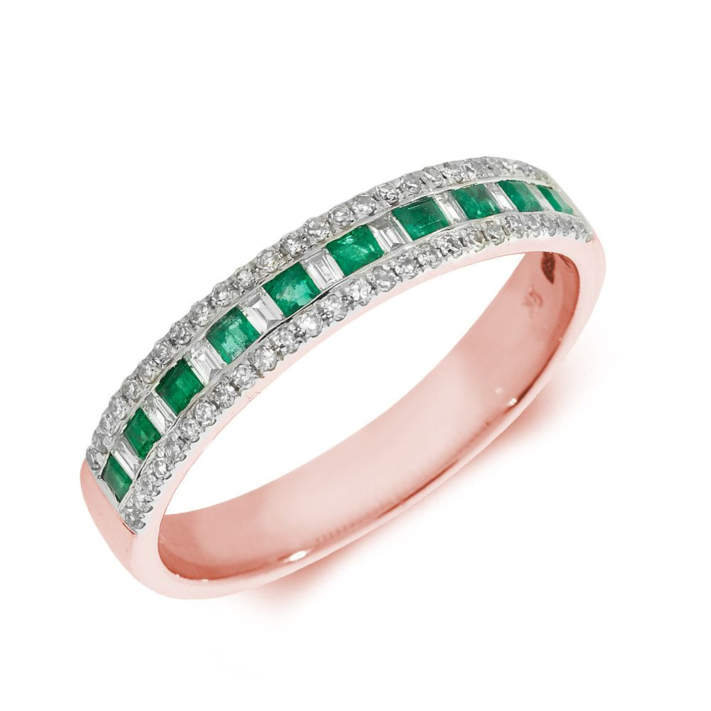 Designer Three Raw Diamond and emerald ring