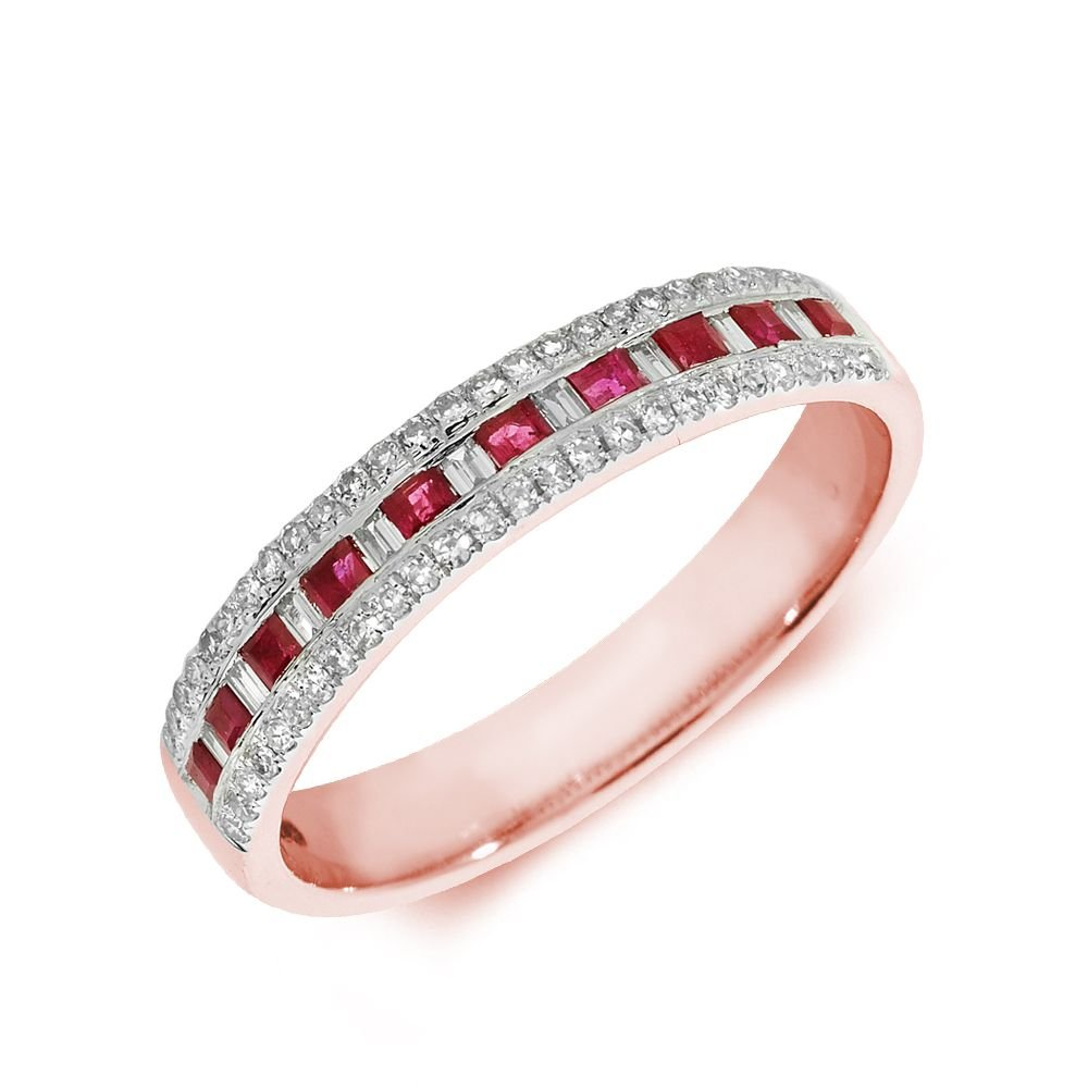 Designer Three Raw Diamond and ruby Gemstone Ring